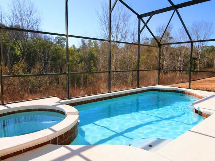 View 5BD South facing Pool with Woods